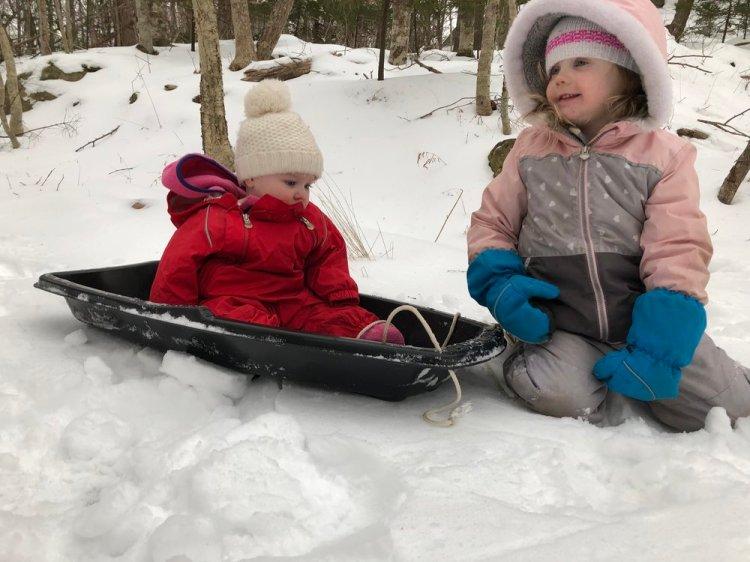 Playing in Hemlock Ravines in the snow