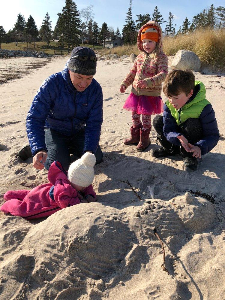 Building a sandman at Hubbards Beach