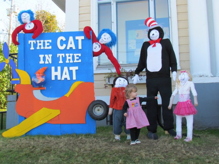 Toddler Miss M checking our Dr Seuss scarecrow and friends a few years ago