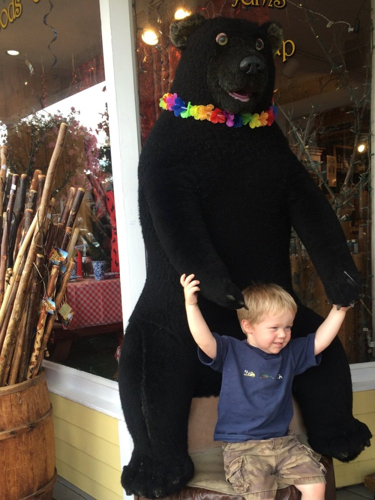 Mr M getting a bear hug at a shop in North Conway